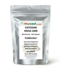 CHITOSAN MEGA 1000! 360 Tabletten - SB*: Fatblocker Diät Carb Blocker VITASCOUT®