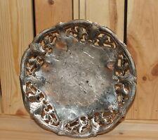 Vintage ornate floral metal footed bowl