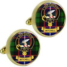 Mens Cufflinks Mitchell Scottish Clan Crest Brass Finish Presentation Boxed