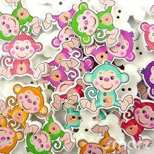 10pcs Mixed Monkey Wood Button/Flatback Lot 30x30mm Craft Embellish Cards