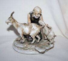 "Antonio Borsato Figurine "" Old Man & Goats "" ITALY ( BEAUTIFUL PIECE )"
