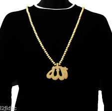 Mens Alah Pendant Wood Hip Hop Ball Beaded 36 Inch Chain Necklace