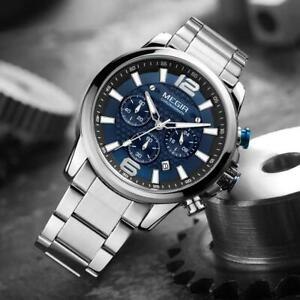 MEGIR Men's Quartz Wrist Watch Men Stainless Steel Band Chronograph Mens Watches