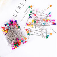 100Pcs Dressmaking Sewing Pin Straight Pin Round Colorful Head Pearl Corsage r