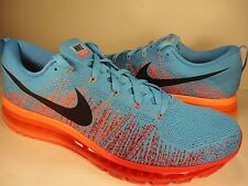 Nike Flyknit Max Vivid Blue Black Gym Red Atomic Orange SZ 13 (620469-406)