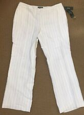 Ralph Lauren ANDOVER Wide-Leg Pinstripe Linen PANTS Trousers WHITE 16W, NWT $169