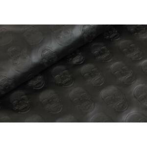 0,50m Kunstleder Totenkopf schwarz Taschen Leder Skull Imitat Lederimitat KT1637