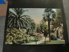 TROPICAL SCENE IN GARDEN OF NOTRE DAME, SAN JOSE CA POSTCARD
