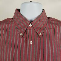 Jos A Bank Executive Collection Mens Black Red Striped Dress Button Shirt Large