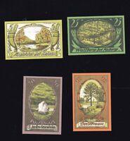 4 x Notgeld  Gutschein 10,20,25,50 Pf Amtsbezirk KOBERG Herzogtum Lauenburg 1921