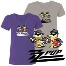 Teddy the Dog T Shirt ZZ Pup Ladies V Neck Tee Limited Edition ZZ Top Parody NWT