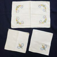Table Center Scarf 3 Piece Vtg Ivory Colorful Floral Handmade Blue Stitching