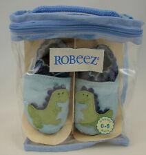 Robeez Classic Soft Leather Infant Baby Boys Crib Shoes Blue Dinosaur 0-6 M