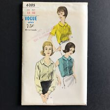 Uncut Vogue 1960s Box Pleated Blouse Sewing Pattern Vintage 6205 Size 12