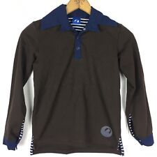 Finkid Boys 140/150 9 10 Long Sleeve Shirt Light Weight Sweatshirt Collar Brown