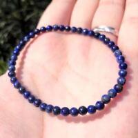 Stress Anxiety Healing Natural 4mm Lapis Lazuli Gemstone Kid to Adult Bracelet