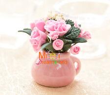1:12 Dollhouse Miniatures Toy Clay Ikebana Plant Flower Pink Carnation