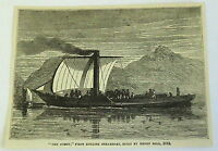 1878 magazine engraving ~ Henry Bell's THE COMET ~ first English steamboat