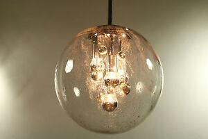 Planet Doria Chandelier XL Glass Ball Dia.16'' Pendant Lamp Vintage 1960's 70's