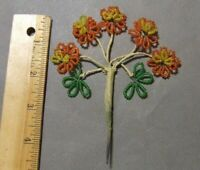 ANTIQUE VINTAGE FRENCH GLASS SEED BEAD FLOWER PICK  YELLOW ORANGE FLOWERS DAISYS