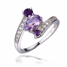 UNIQUE 2ct Genuine Oval Amethyst Ring Solid 925 Sterling Silver Size 7 gift Hot