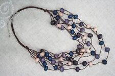 "Necklace 14"" Multi-Strand Layered Natural Wood Beads Eggplant Purple Beige Blue"