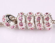 HOT 5pcs Pink Czech big hole spacer beads fit Charm European Bracelet B539