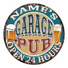 CP-0146 ANY NAME'S GARAGE PUB Custom Personalized Tin Sign Decor Gift ideas