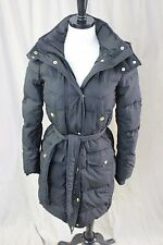 J CREW LONG BELTED DOWN PUFFER COAT SIZE XS BLACK