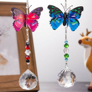 Fashion Crystal Prisms Ball Suncatcher Butterfly Hanging Ornament Car Pendant