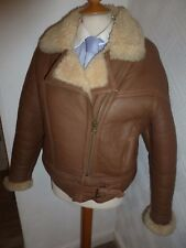 Homme M Shearling sheepskin Tan en cuir aviateur Flying Hiver Bomber Veste manteau