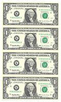 1995 $1 DALLAS UNCUT SHEET OF 4 BANKNOTES, NEW & UNCIRCULATED, K/B BLOCK