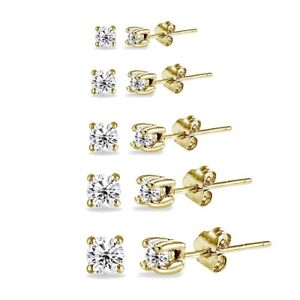 5 Pair Set Round CZ Stud Earrings in Gold Plated 925 Silver 2mm 3mm 4mm 5mm 6mm