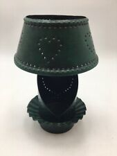 Punched Tin Yankee Candle Holder Vintage-Look Dark Green