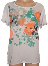 MNG by Mango L, large short sleeve knit back blouse multicolor floral shirt top