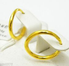 Fine Authentic 24k Yellow Gold Earrings Women S Elegant Circle Hoop Earrings10mm