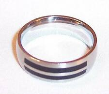 Men's Brushed Stainless Steel Ring Band with Black Inlay Strips, 10
