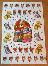 ENCAPSULATED GLITTER Christmas Stickers SANTA + BUNNIES TEDDIES PUPPY SG-1804