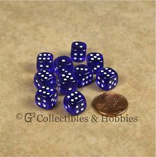 NEW 10 Transparent Blue 10mm Rounded Edge RPG D&D Game D6 Dice Set 6 Sided