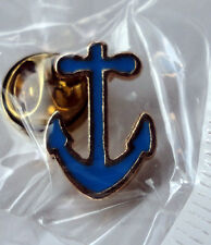 ZP41f Sailing Boat Sailboat Sloop Yacht Anchor Lapel Pin Badge Blue