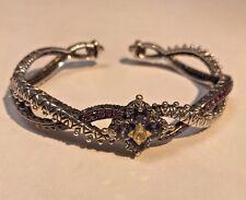 Barbara Bixby Sterling Silver iolite 18K Gold Pink Garnet Flower Cuff Bracelet