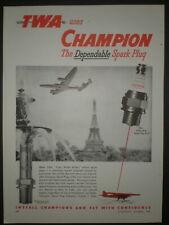 1946 TWA AIRLINE Eiffel Tower vintage CHAMPION SPARK PLUG RC 35 S Trade print ad