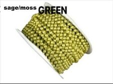 Pearl Plastic Beads on a String 4Mm Faux Craft Roll 24 yds (sage / moss)