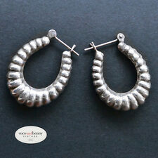 *Vintage 80's Hollow Sterling Silver Ribbed Hoops Earrings BEAUTIFUL