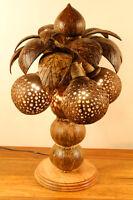 50cm XL Kokosnuss Lampe Palme Kokos Leuchte Thailand Coconut Stehlampe groß Holz