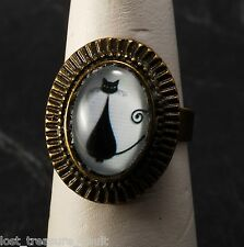 LTV Creation Ring Kitty Cat White Glass Cabochon Top Brass Metal Jewelry