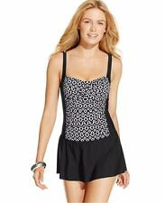 Swim Solutions Size 18 Front Ruched Skirted Swimsuit Swimdress Blk Wht NWT $109