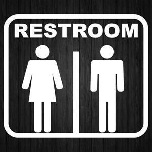 Restroom Bathroom Toilet Sign Sticker Business Store Shop Door Stickers Decal