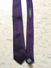 "Mens River island dark purple plain smooth skinny 2"" wide 57"" long polyester tie"
