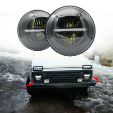 """LED Headlights 7"""" Inch Headlight Headlamp For Land Rover Jeep Black With E9"""